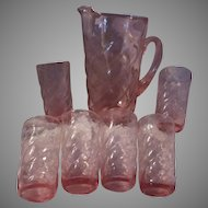 Pink Crackle Glass Pitcher and 6 Glasses Dining Bar Glassware Set