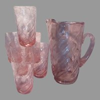 Pink Glass Pitcher 6 Glasses Set Fine Diining Bar