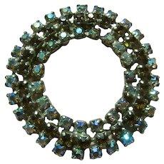 Blue Aurora Rhinestones With Darker Stones Circle PIn