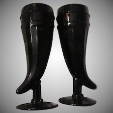 Pair Black Glass Horn of Plenty Goblets