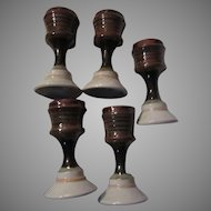 Set 5 Pottery Unusual Goblets Or Candleholders