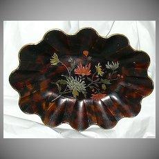 19th C Antique Papier Mache Centerpiece Bowl Painted Flowers Fine English Decorative Art