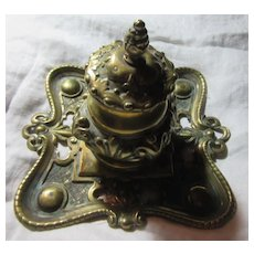 Heavy Ornate Brass Antique Ink Well Stand 1800's Fine Desk Accessory