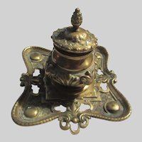 Old English Brass Fancy Inkwell