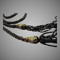 Black Iridescent Crochet Or Braided Seed Beads Long Rope Venetain Glass Bread Accents