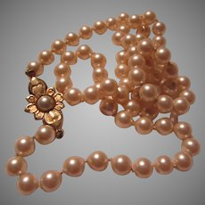 Lovely Costume Pearls Necklace Fancy Clasp