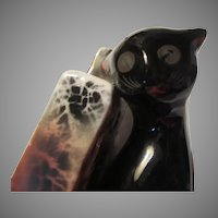 Old Black Cat Figurine Book End