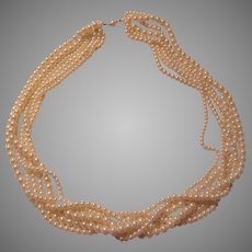Elegant 6 Strand Faux Pearls Long Necklace