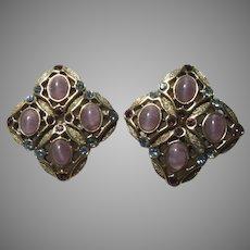 Gold Metal Pink Stones Clip Earrings