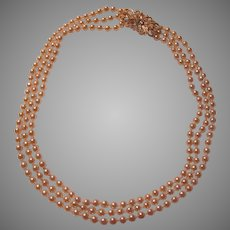 Elegant Triple Strand Long Faux Pearls Ornate Decoration