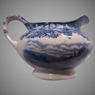 Enoch Woods Ware English Blue White China Creamer Cream Pitcher