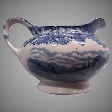 Enoch Woods Ware English Blue White China Creamer Cream Pitcher