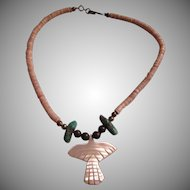 Native American shell heishi turquoise & MOP Eagle Necklace