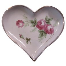Old Heart Shaped Dish Bowl Tray Hand Painted Pink Flowers