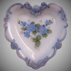 Hand Painted Heart Shaped White Glass Dish Blue flowers
