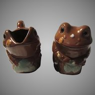Old Japan Frogs Sugar Cream Set Frog Creamer