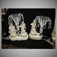 Set 2 Lamps Porcelain Figures Crystals Night Light Fine Lighting