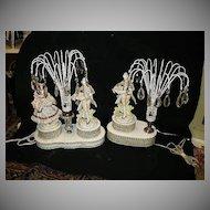 Set 2 Lamps Porcelain Figures Crystals Night Light Fine Lighting