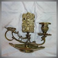 Old Heavy Brass English Candlestick With Faces & Match Holder