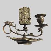 Old Brass Ornate Candlestand With Match Holder Sartyr Mythological  Faces