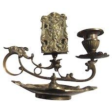 Old Brass Ornate Candlestand With Match Holder Sartyr Mythological  Faces
