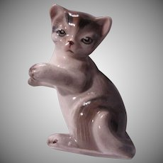Old Brown White Tabby Cat Kitten Figurine