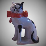 Old Cat Figurine Vintage Japan Black White Kitten