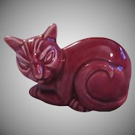 Homer Laughlin Old Cat Figurine Maroon Red Kitten Ceramic