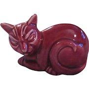 Homer Laughlin Old Cat Figurine Maroon Red Kitten Ceramic
