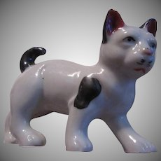 Old Cat Figurine Black White brown Tricolor Ceramic Vintage Japan Kitten