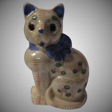 Old Japan Cat Figurine Unusual Hand Painted Kitten