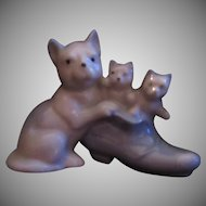 White Cat With Kittens In Shoe Ceramic Figurine