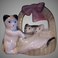 Old Cat  Ceramic Figurine Tiny Kittens Basket Vintage Japan