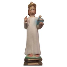 Jesus Infant of Prague Chalk Ware Statue Figurine