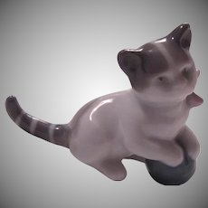 Germany Porcelain Miniature Cat Kitten Figurine White Gray Playing With Ball