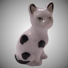 Germany Porcelain Cat Figurine Black White Kitten