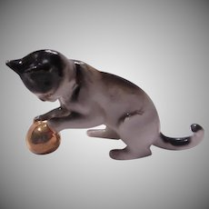 Germany Black White Miniature Cat Figurine Kitten With Gold Ball