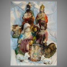 Nativity Set Large Vintage Japan 11-PC Ornate Christmas Statues