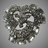 Large Swirl Rhinestone Brooch Pin