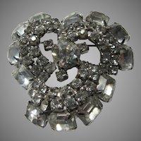 Large Swirl Rhinestone Brooch Pin