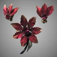 Old Coro Shaded Maroon Red Metal Flower PIn Earring Set Demi Parure