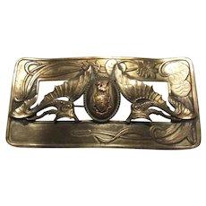 Art Nouveau Brooch Pin Flying Fish