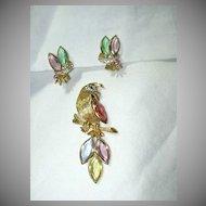 BSK Parrot Brooch Pin Earring Set Costume Jewelry