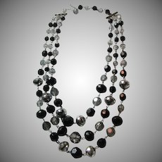 West Germany Black And Silver Plastic Faceted Beads  Necklace