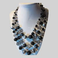West Germany Black Crystal & Silver Faceted Beads Necklace