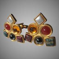 Gold Tone Multi Color Stones Cuff Links