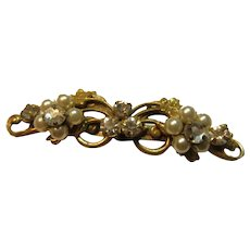 Gold Tone Metal Pin With Faux Pearls And Rhinestones