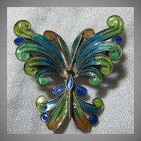 800 Silver Gold-wash Italian Enamel Butterfly Pin Fine Vintage Costume Jewelry