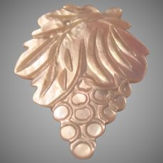 Large Carved Mother of Pearl Grapes Brooch Pin