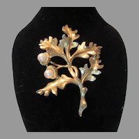 Boucher Gold Tone Flower  Brooch Fine Signed Vintage Costume Jewelry
